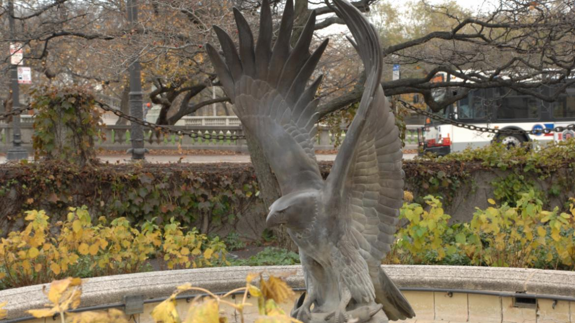 This close up view shows  sculptural eagle with a fish in its talons, ca. 1990.