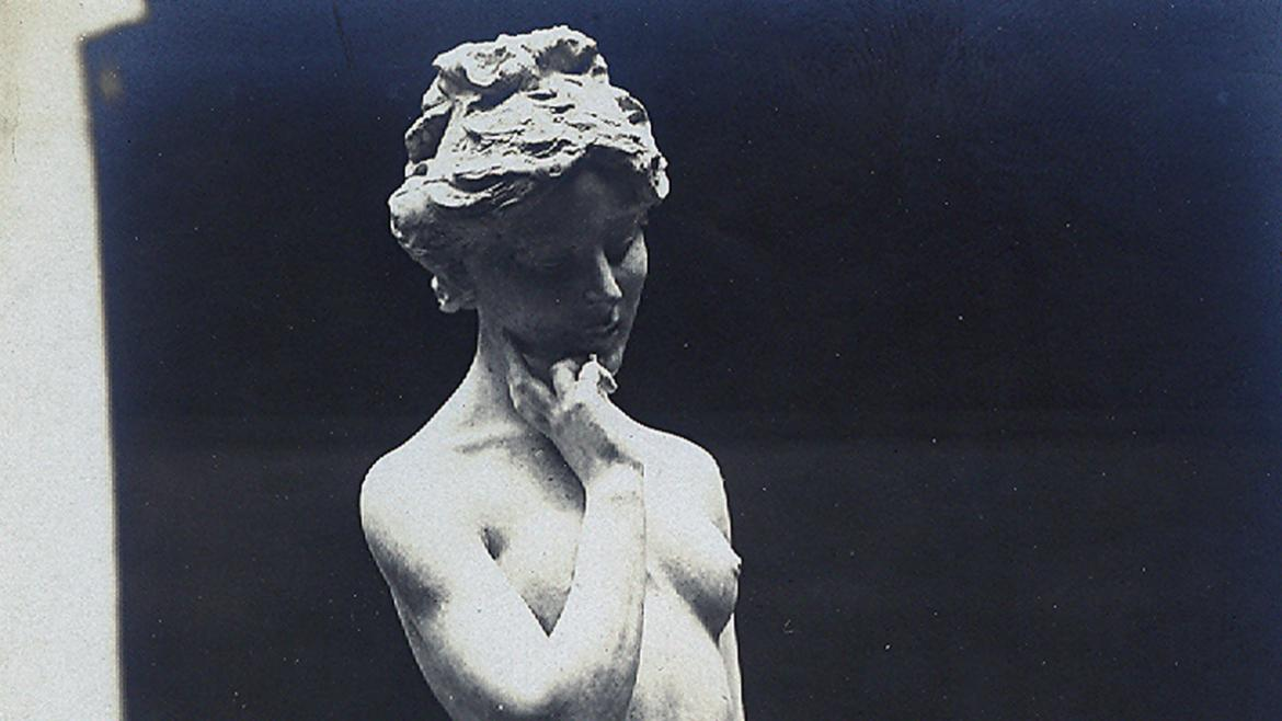 This photograph shows the plaster version of the Dove Girl, CPD Special Collections, ca. 1908.