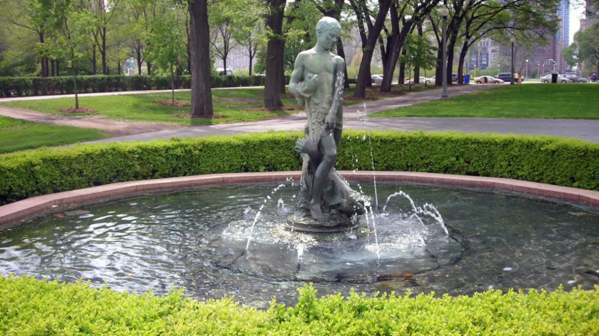 The Fisher Boy is north of Buckingham Fountain and east of the Crane Girl, 2010.
