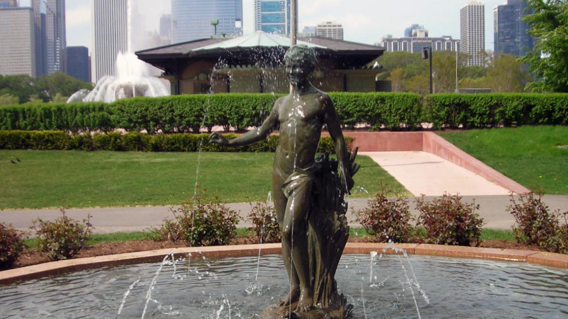 The Turtle Boy is south of Buckingham Fountain and east of the Dove Girl, 2010.