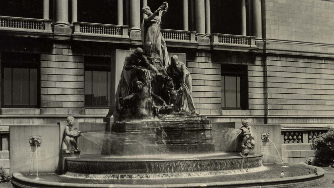 The Fountain of the Great Lakes was originally installed along the north edge of the Art Institute's