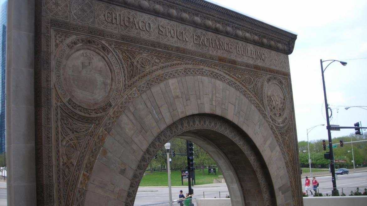Louis Sullivan's Chicago Stock Exchange Arch is composed of molded terra cotta, 2010.