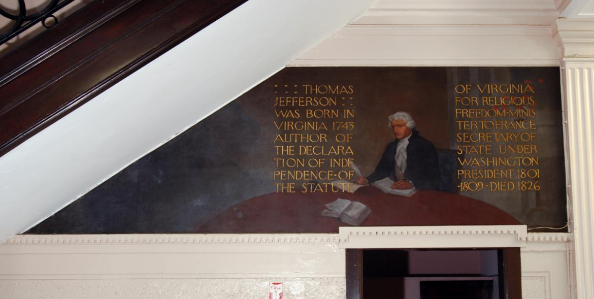 The Historical Series stretch across the upper level of the lobby walls and include portraits.