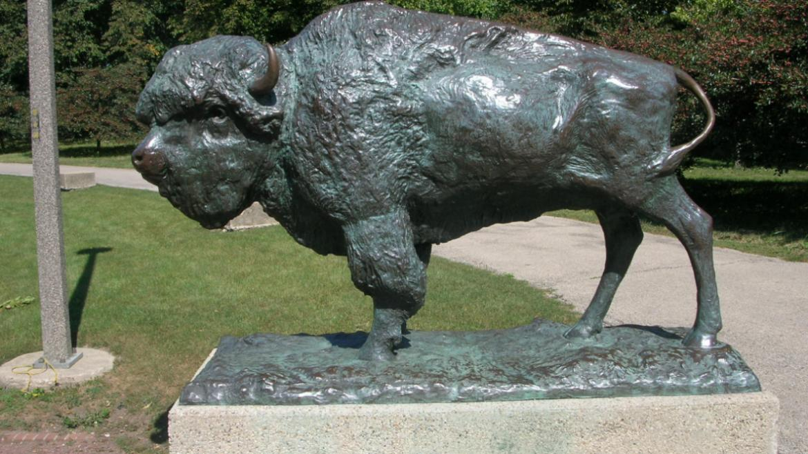 Sculpted by Edward Kemeys and reproduced by Jules Bercham, the World's Fair Bison.
