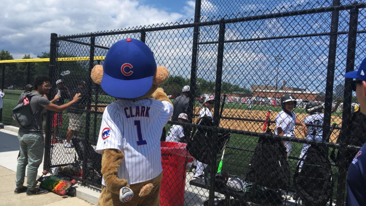 Clark the Cub at the Chicago Youth Baseball and Softball Tournament.