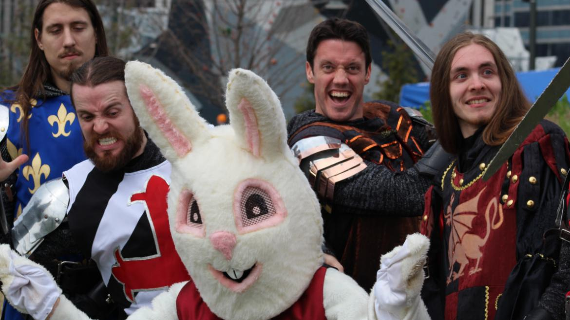 Partying with the Bunny and Medieval Times at Maggie Daley!