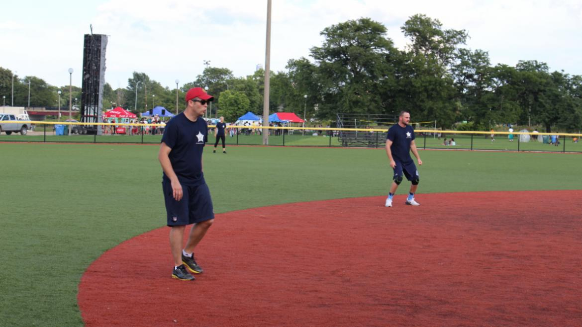 The 14th District CAPS officers played a softball game with teens from neighborhood parks
