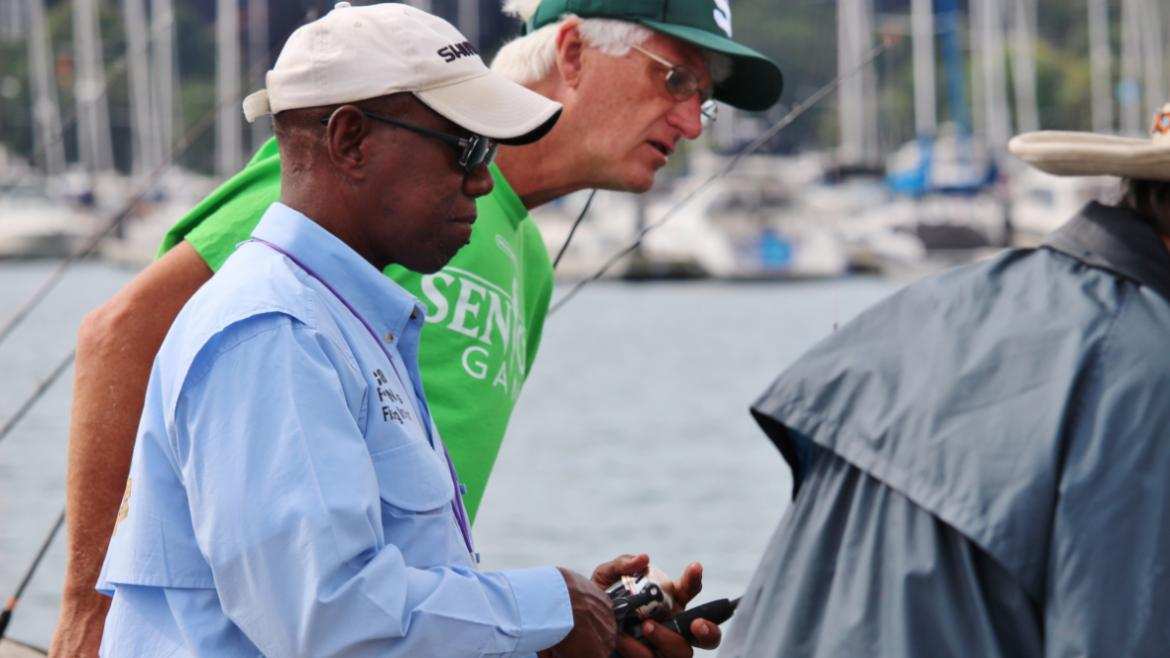 Seniors fishing with park staff at Northerly Island