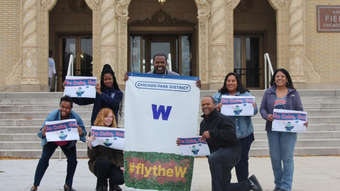 Chicago Park District staff are Flying the W at Garfield Park