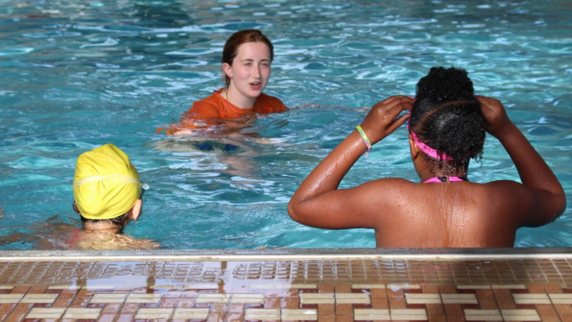 Park District lifeguards guided new swimmers through the steps of learning to swim.