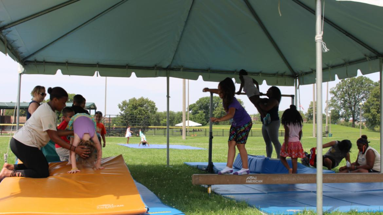 Fun in the gymnastics tent!
