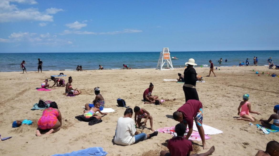Jackie Robinson Park campers enjoying a beach day