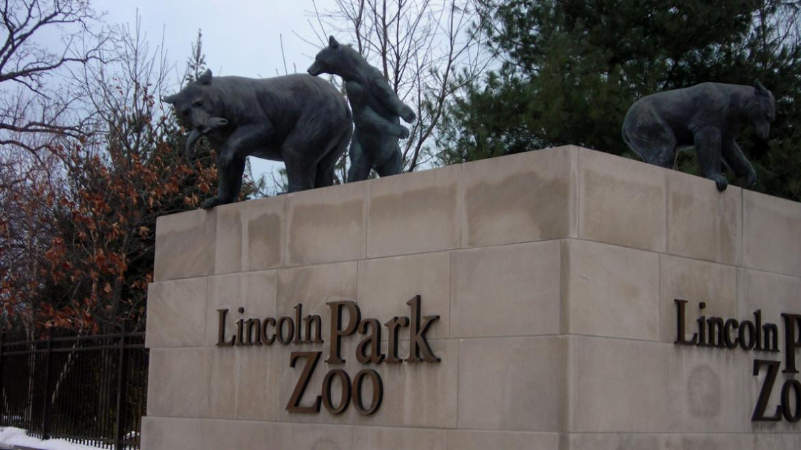 The sculptural group of bears marks the west entrance to the Lincoln Park Zoo, 2010.