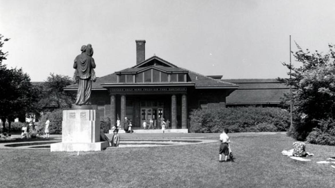 Historical view of the monument in front of a sanitarium for sick babies (now Theater on the Lake).