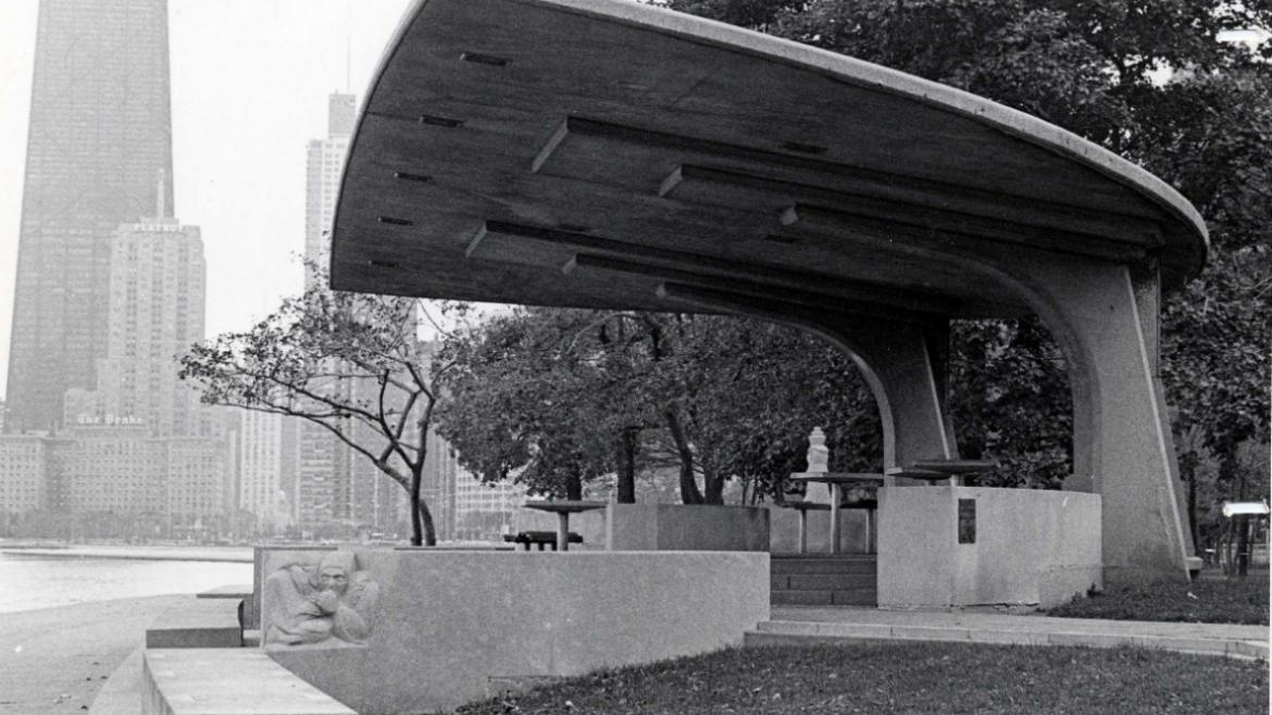 The modernist Chess Pavilion is like a work of sculpture itself, CPD Special Collections, ca. 1970.