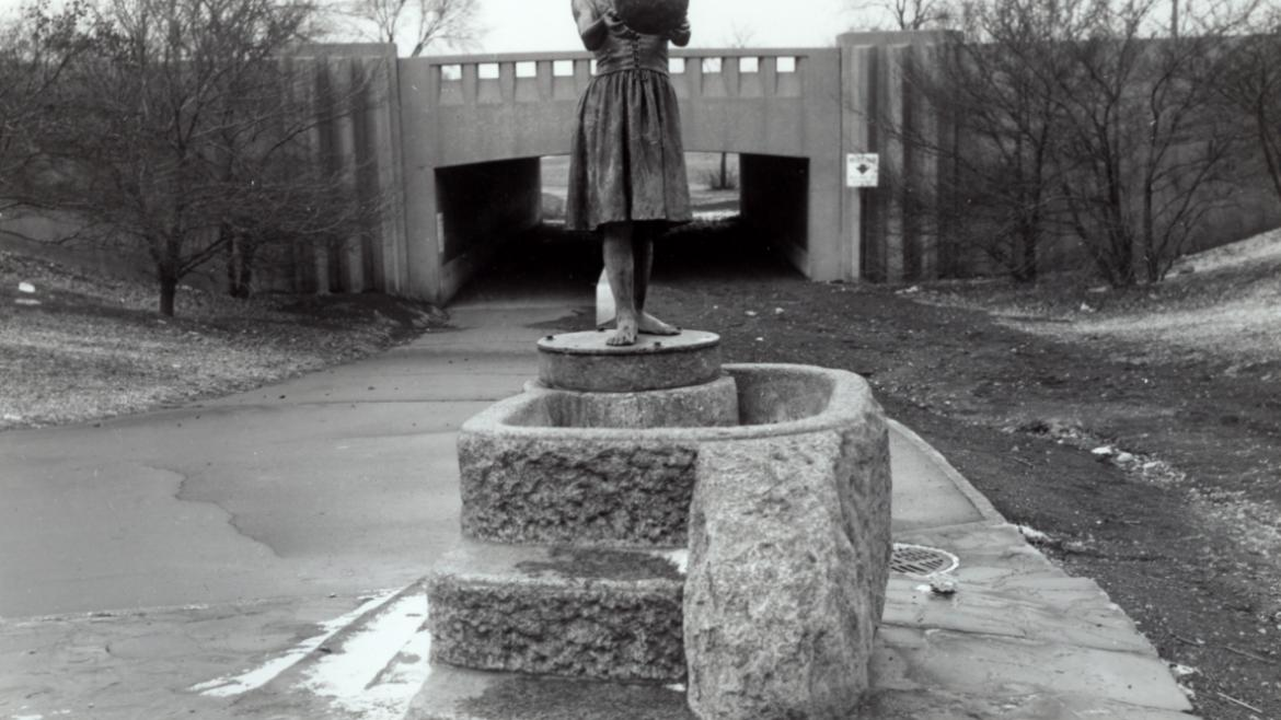 This photograph shows the Fountain Gifl in its second location in Lincoln Park.