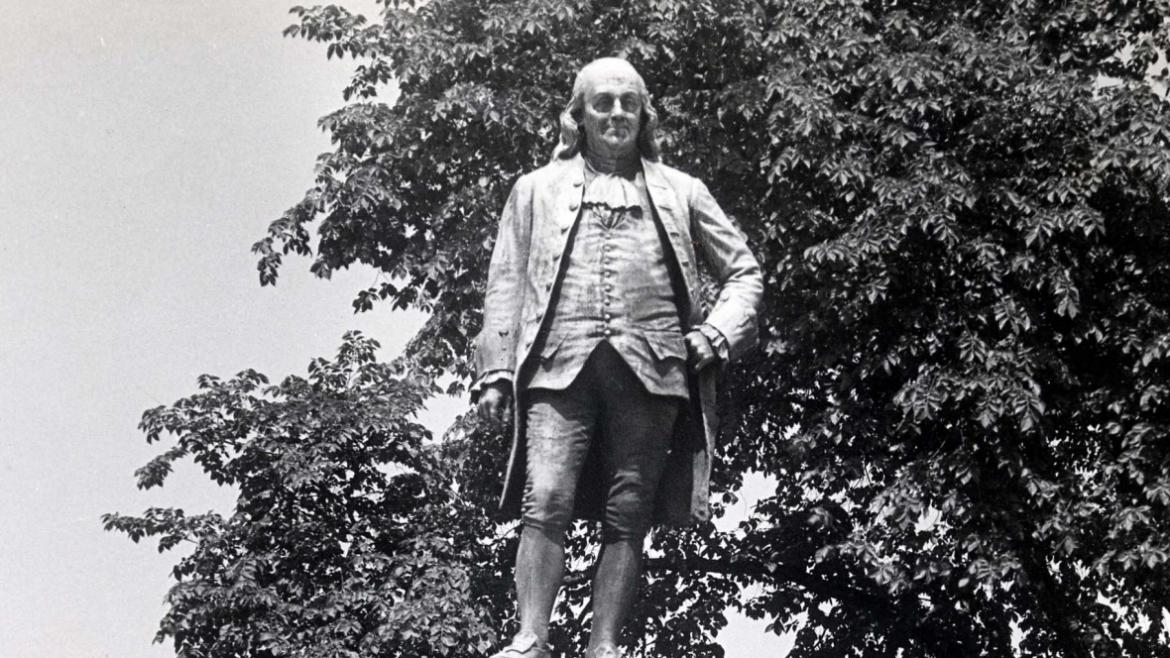 Park depicted Benjamin Franklin standing with one hand on his hip as though he is about to deliver a