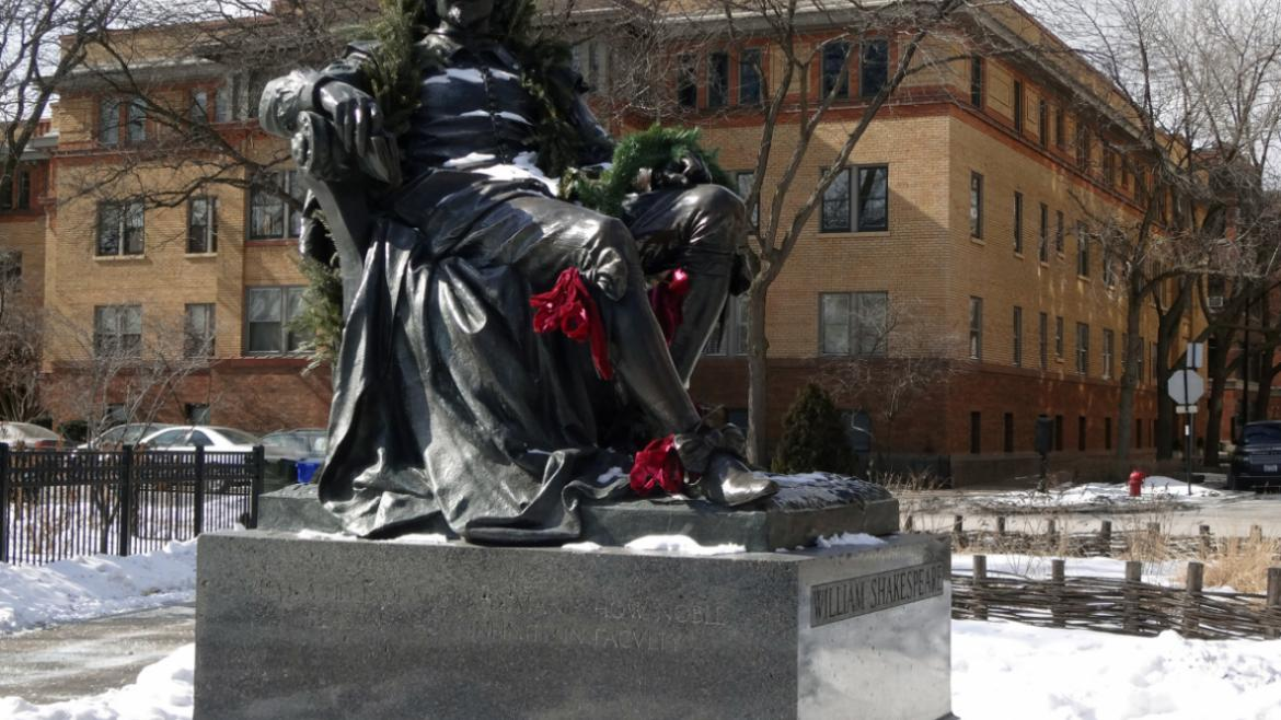 The Chicago Park District decorates the Shakespeare statue for the holidays each year, 2015.