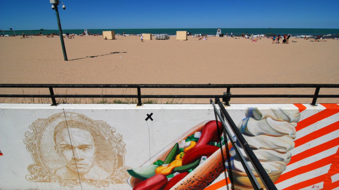 The artwork includes familiar American icons such as a Chicago hot dog and an ice cream cone.