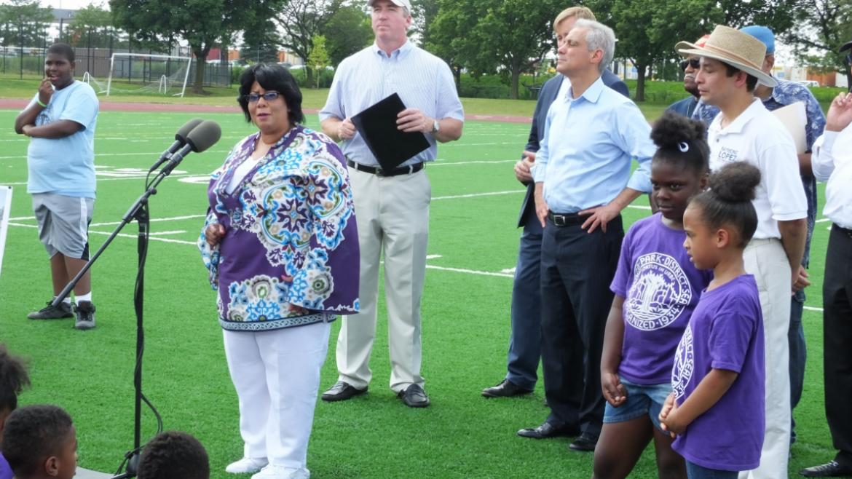 Alderman Toni Foulkes speaking to community