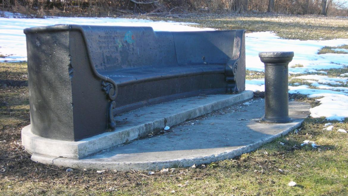 The memorial's bench and pedestal remain; however, the sundial is no longer extant, 2010.