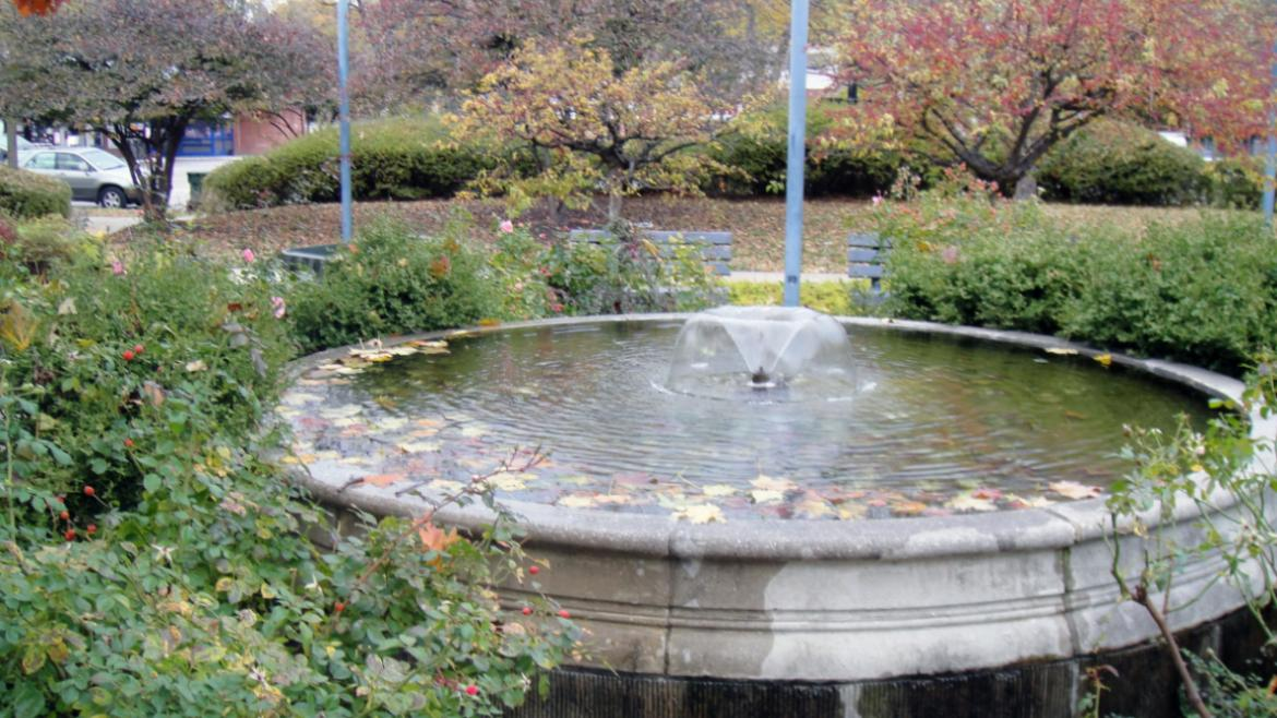 The circular North Fountain is located in Nichols Park's formal garden, 2010.