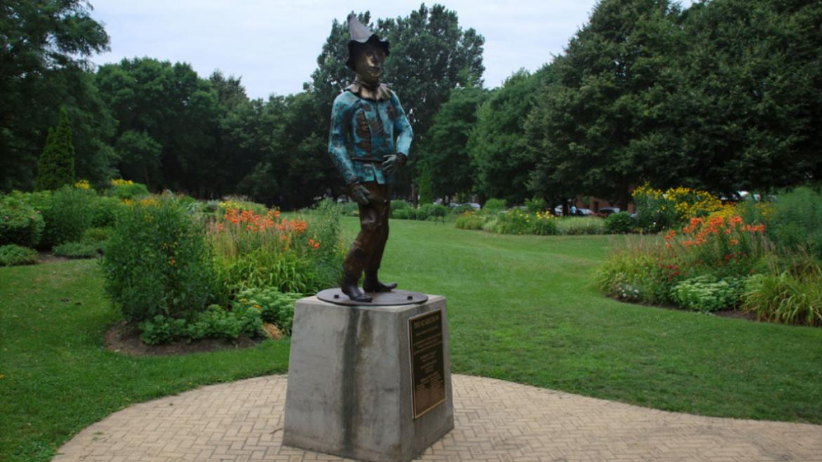 The Scarecrow stands in Oz Park's Emerald City Garden, 2012, photo by James Iska.