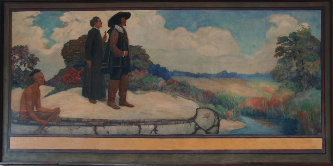 In the second mural, French Explorers Jolliet and Marquette look out towards the landscape