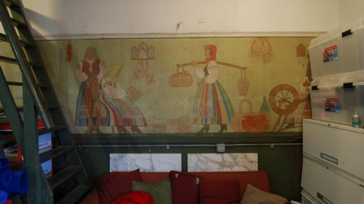 Hidden in the tower room at the upper story, the mural was painted in the 1930s