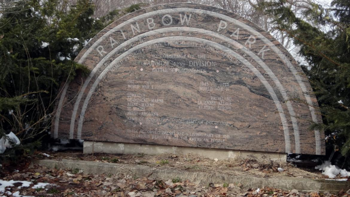 After the original bronze plaque was stolen, the Illinois Chapter of the Rainbow Division