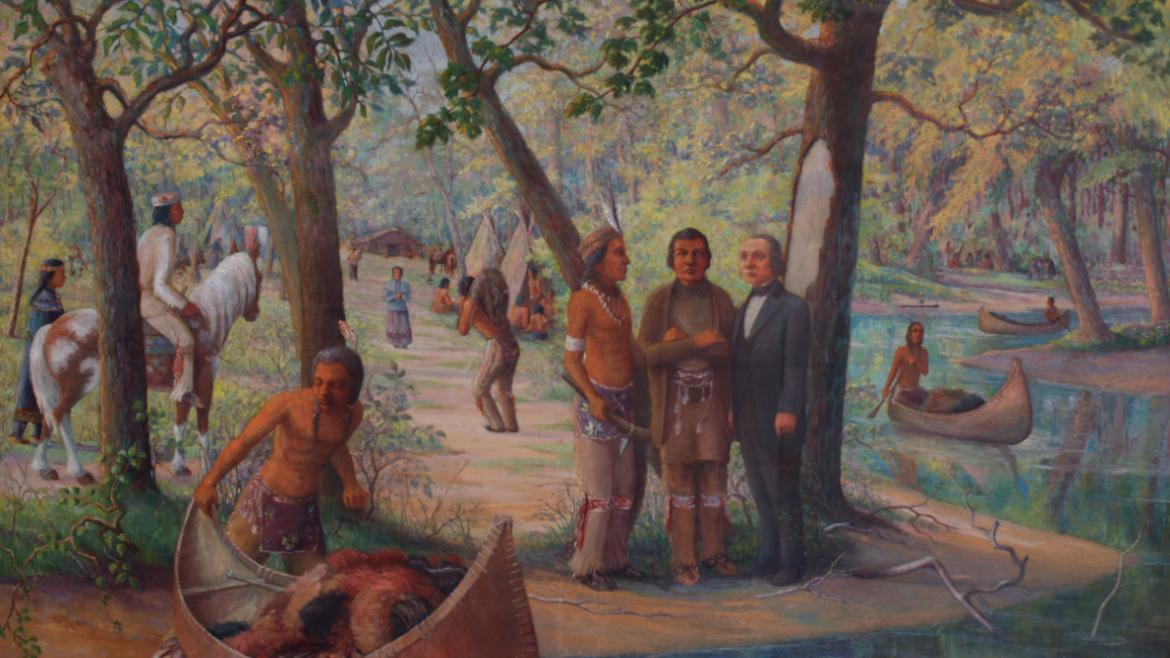 The painting depicts Chief Robinson Alexander talking with members of his tribe