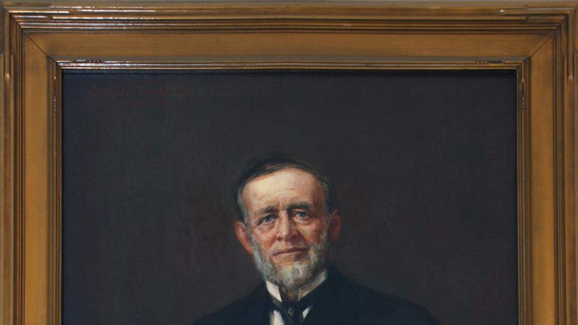 The portrait of Thomas A. Rutherford hangs in the field house lobby, 2012, photo by James Iska.