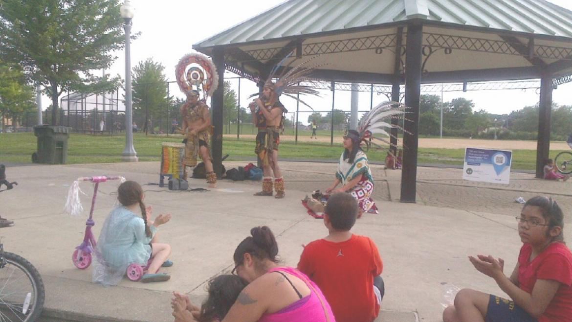 Enjoying a great performance by Danzas Ceremoniales de Mexico: Nahui Ollin at Senka Park