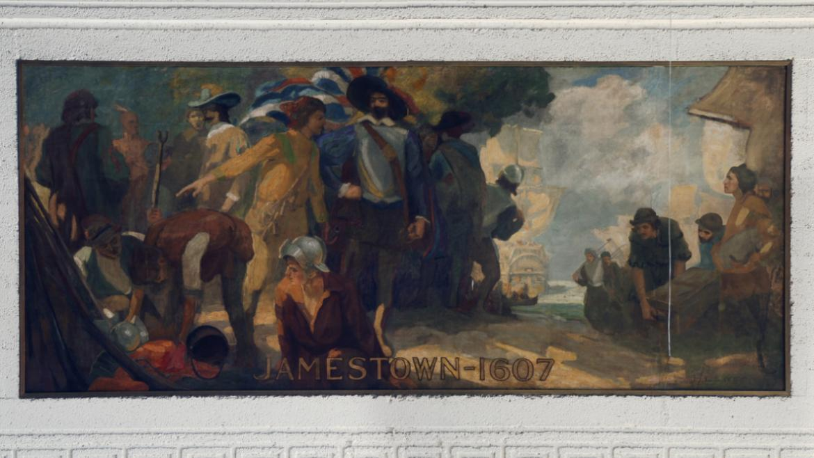 "Paul Sargeant produced the second mural, ""Jamestown- 1607,"" located in the middle on the east wall."