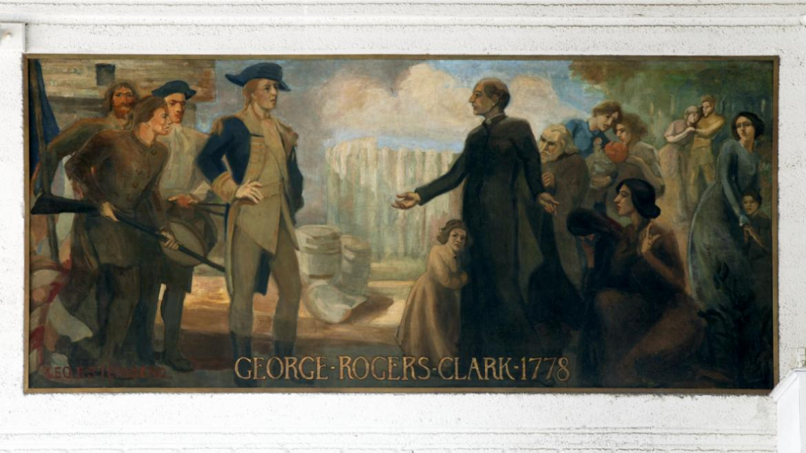 "This final panel on the west wall, ""George Rogers Clark at Kaskaskia- 1778,"" was the work of George"