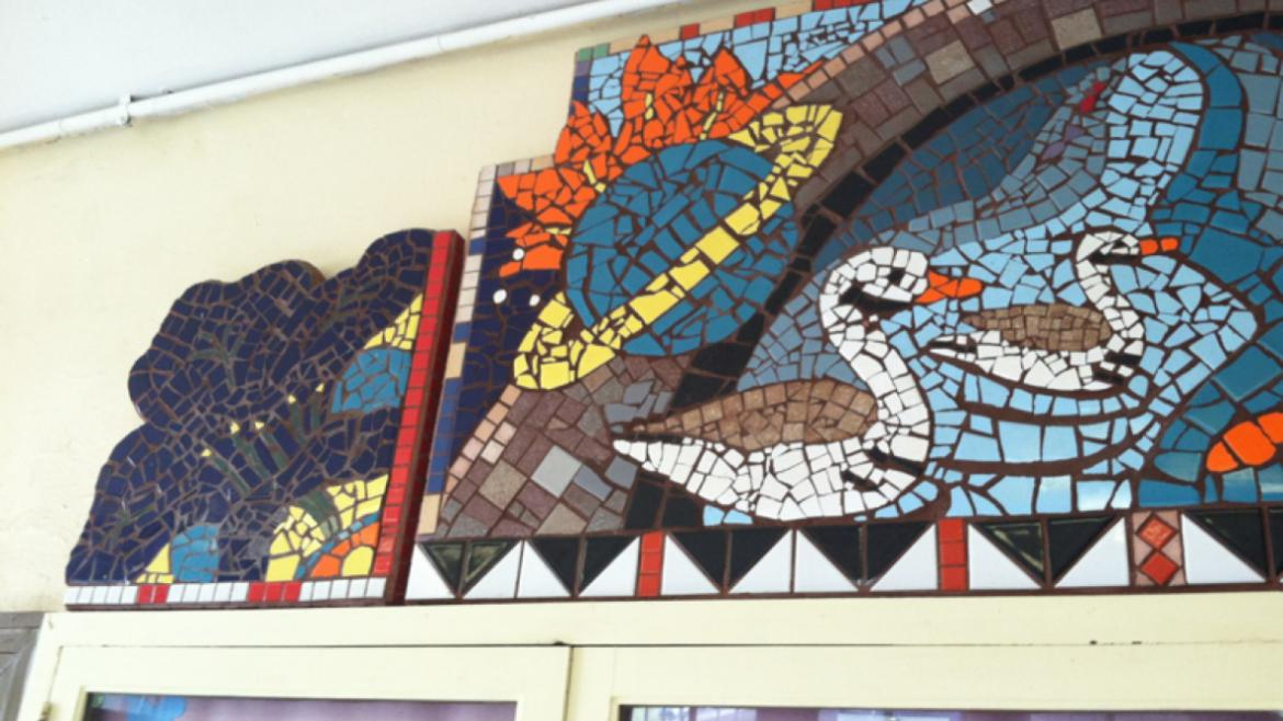 The colorful Sherman Park Mosaic is located in the entryway of the field house, 2013.