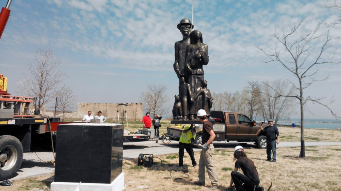 Steelworkers Park is one of Chicago's newest green spaces.  In 2015, the sculpture was completed.