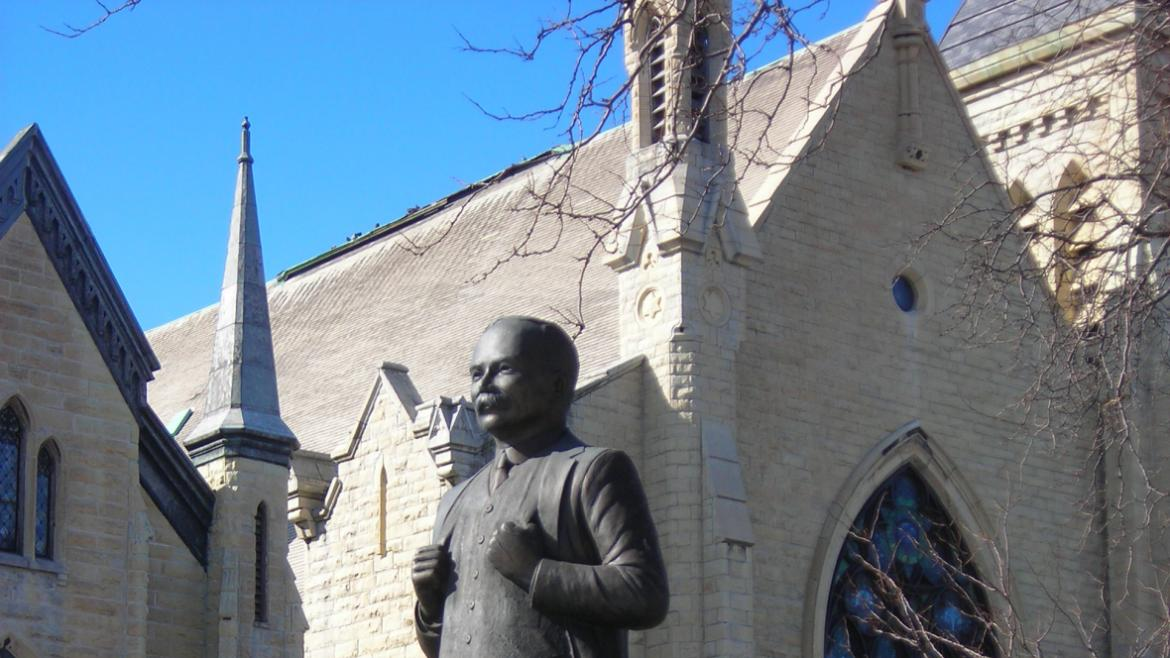The James Connolly Monument is within close proximity to the historic First Congregational Baptist