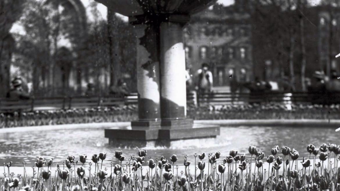 The original McCormick Fountain stood in the center of floral plantings, CPD Special Collections