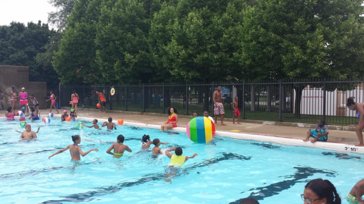 Campers enjoying a summer swim on the first day of day camp at Washington Park