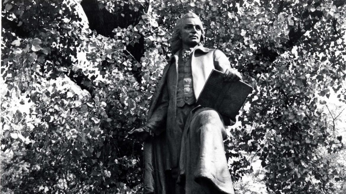 Gotthold Ephraim Lessing Monument was dedicated in 1930, four years after the death of its donor