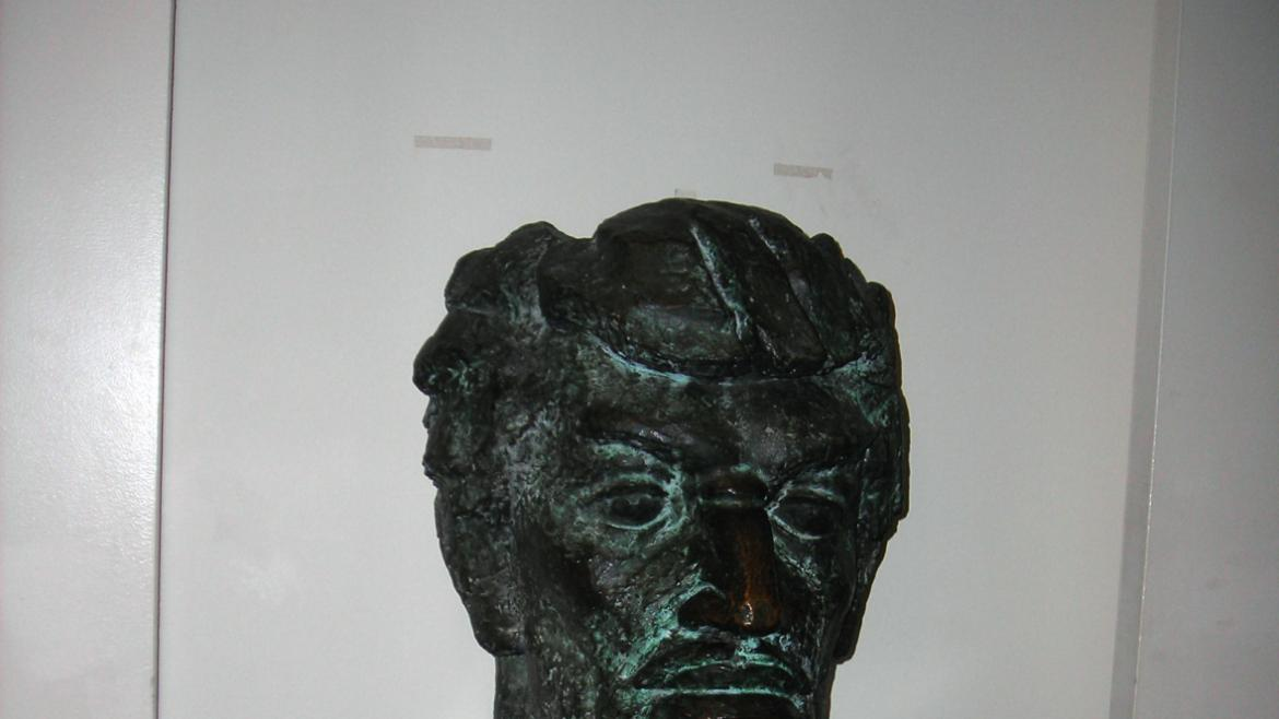 Produced by artist Robert Jones in 1971, this portrait bust of DuSable is located inside the museum,