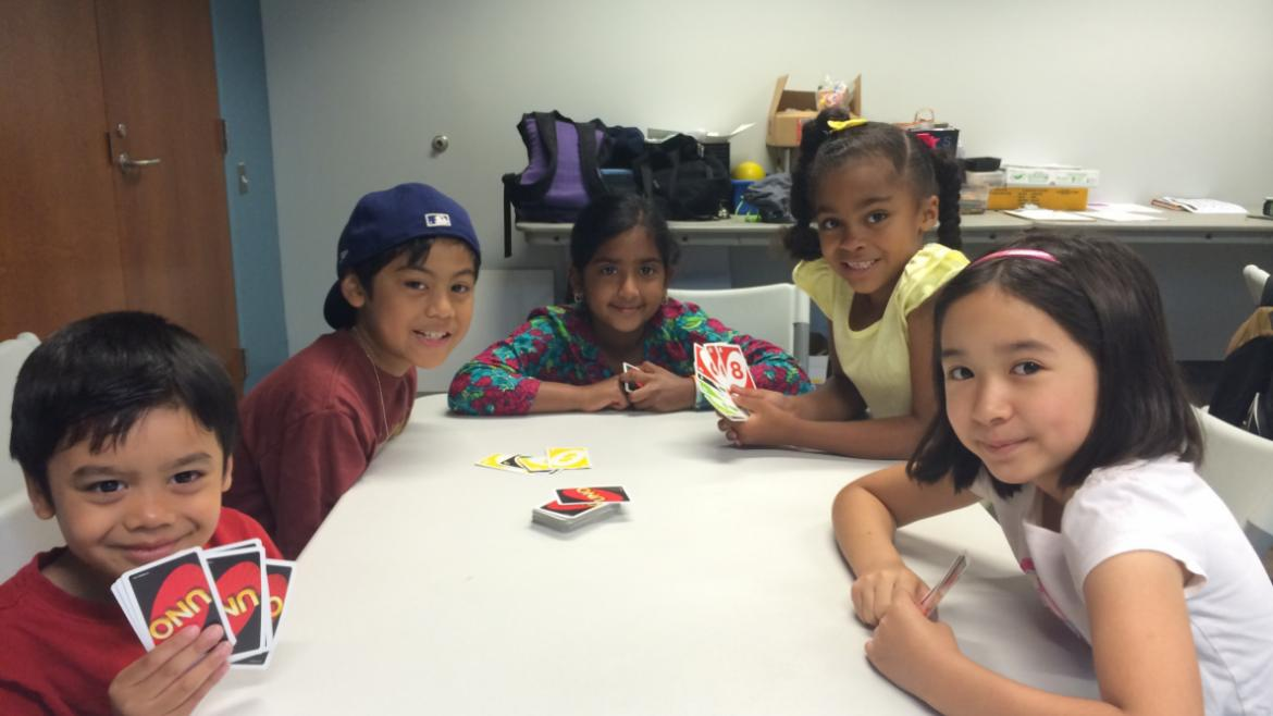 Womens Campers play UNO