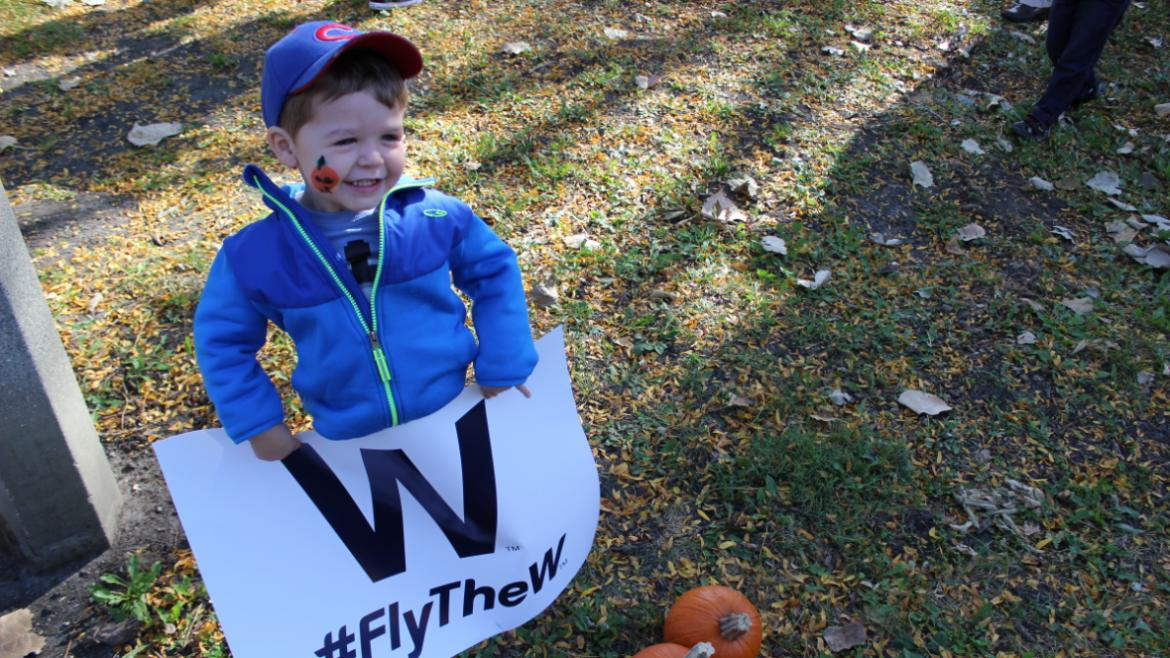 all smiles from this little cubs fan!