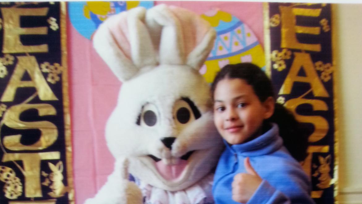 Taking a picture with the Bunny at Altgeld