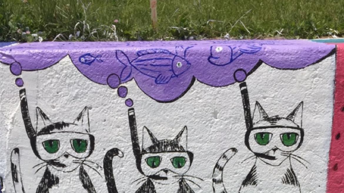 Wall of Cats at the Artist of the Wall Festival at Loyola Park
