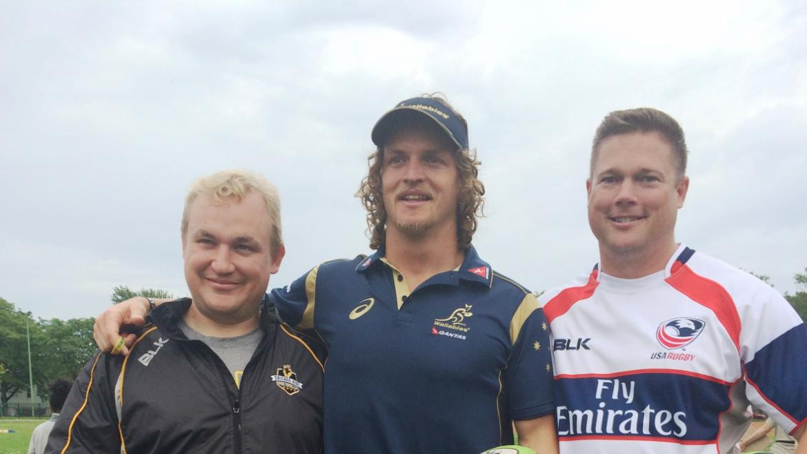 "Aussie Rugby Player Nick""The Honey Badger"" Cummins at Smith Park to introduce the sport to the campe"