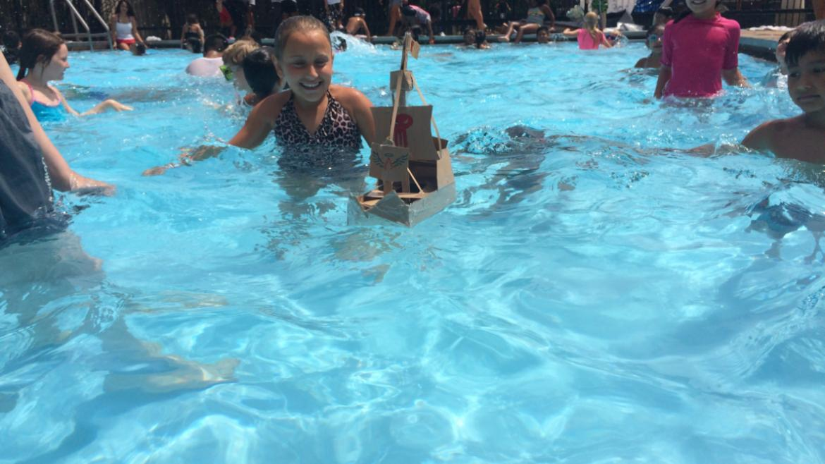 Campers at Avondale Park built mini sailboats out of recycled material.