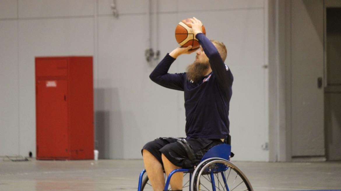 Practicing for wheelchair basketball!