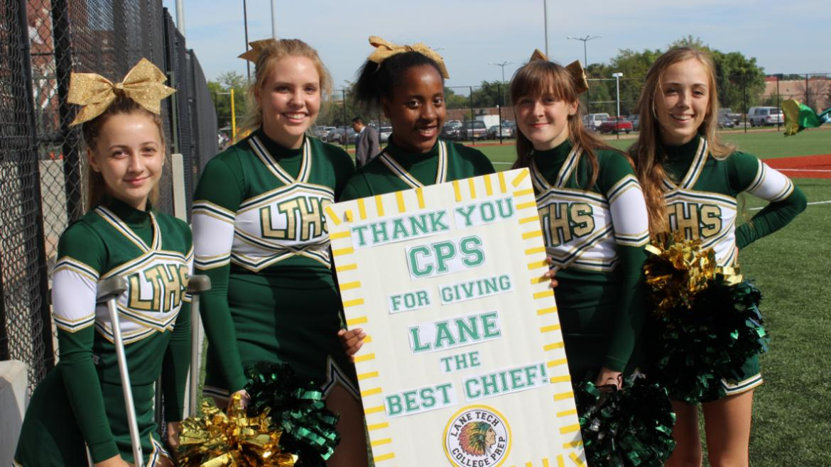 Cheerleaders are grateful for new stadium!